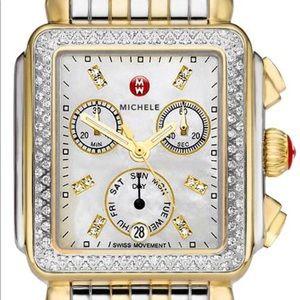 Michele two tone diamond deco watch. Lightly worn